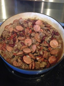red beans simmering