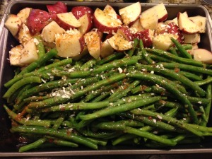 roasted potatoes and green beans